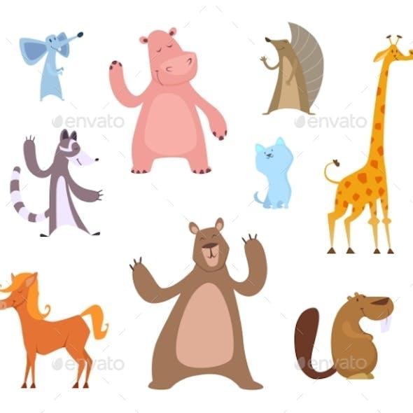 Vector Cartoon Illustrations of Funny Animals