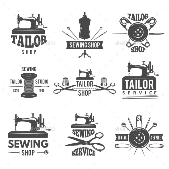 Different Labels or Logos Set for Tailor Shop