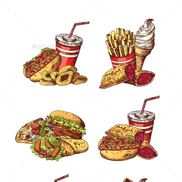 Vector Set of Hand Drawn Colored Fast Food