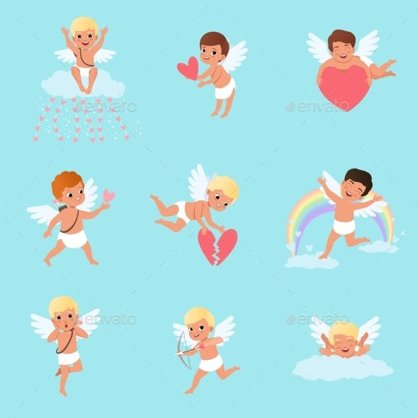 Set of Cupids in Different Actions