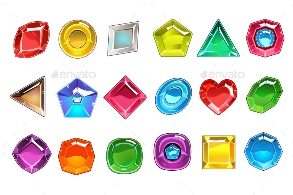 Collection of Colorful Valuable Stones - Miscellaneous Vectors