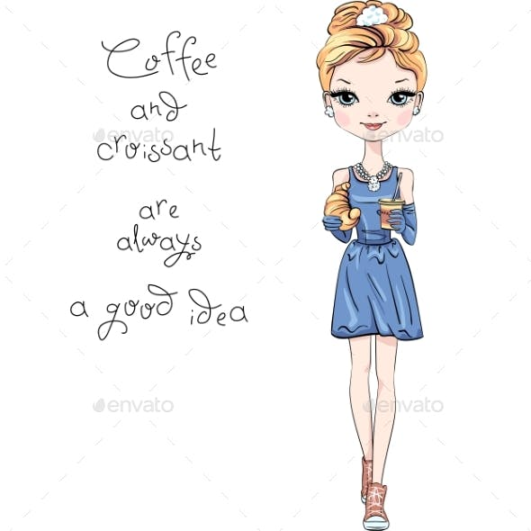 Vector Fashion Girl with Coffee and Croissant