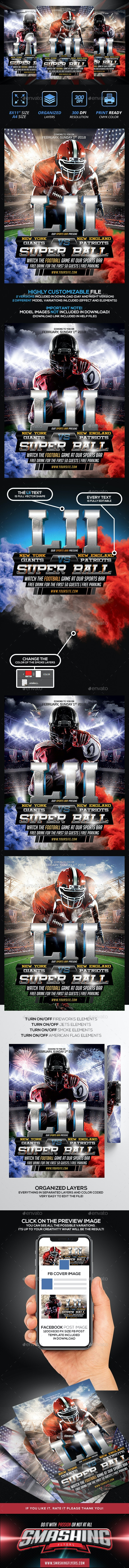 American Football Poster PSD Template - Sports Events