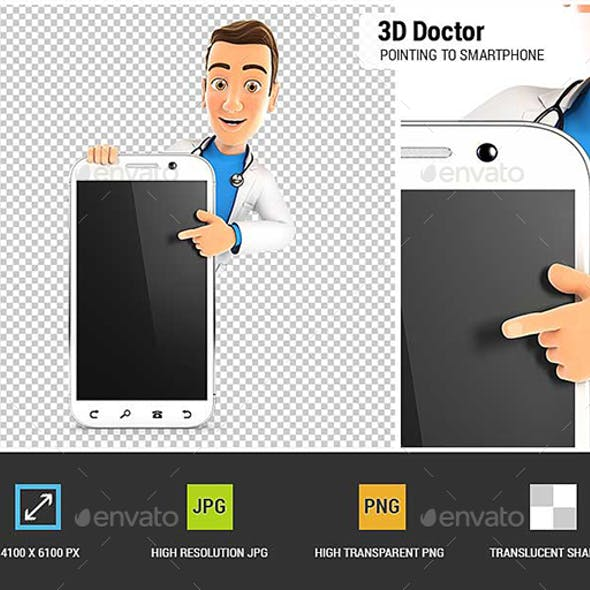 3D Doctor Pointing to Blank Smartphone