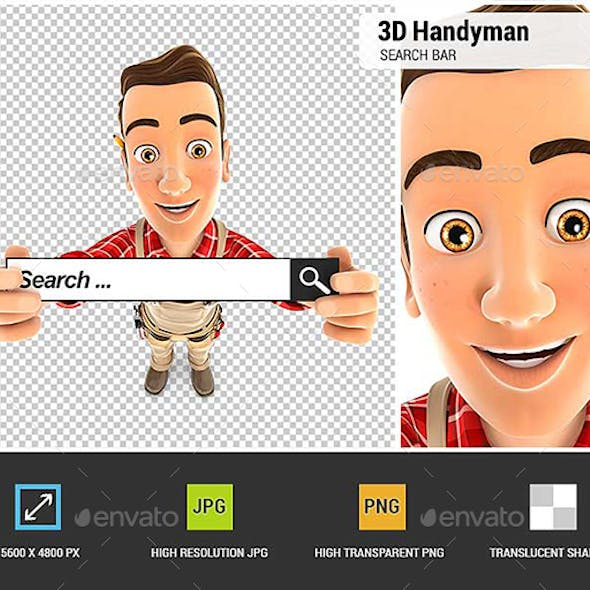 3D Handyman Holding a Search Bar
