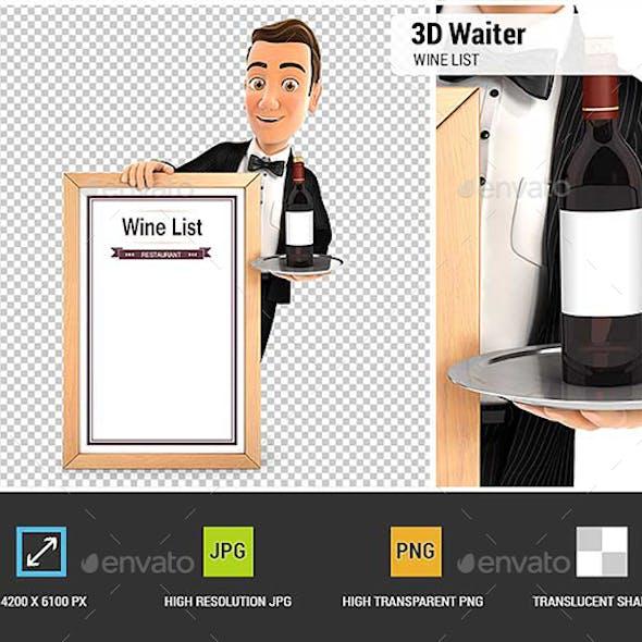 3D Waiter with Wine List