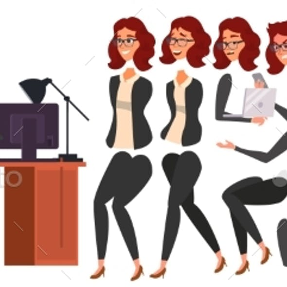 Business Woman Character Vector. Working Female