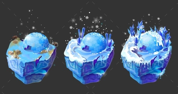 Vector Isometric 3d Fantasy Ice Island Game Design - Objects Vectors