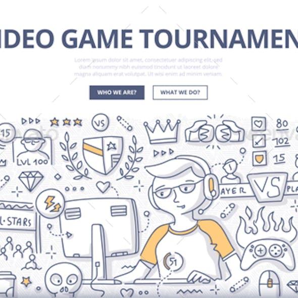 Video Game Tournament Doodle Concept