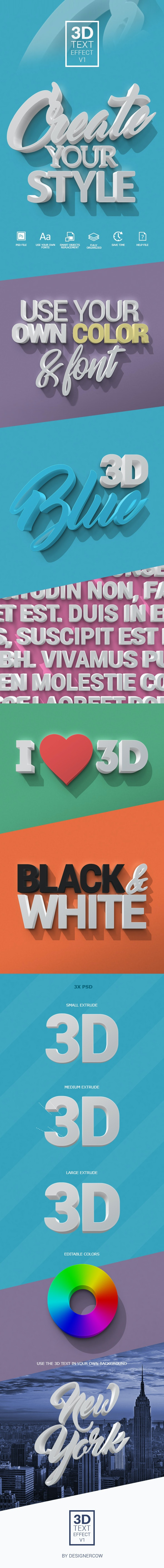 3D Text Effect V1 - Text Effects Actions