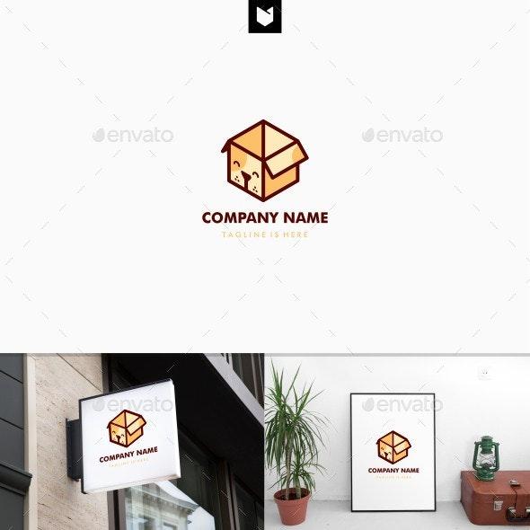 Dog Box Logo Vector Template