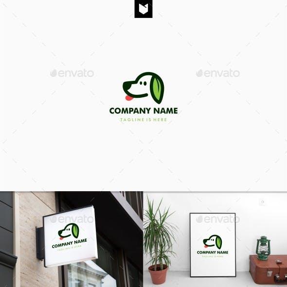 Dog Leaf Logo Vector Template
