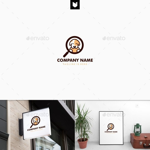 Dog search logo template