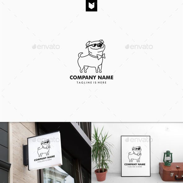 Pug dog logo template
