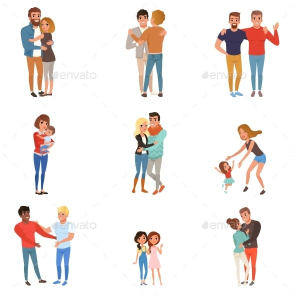 Set with Hugging People