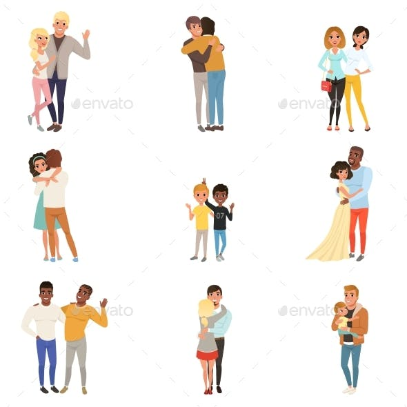 Set of Hugging People in Different Poses
