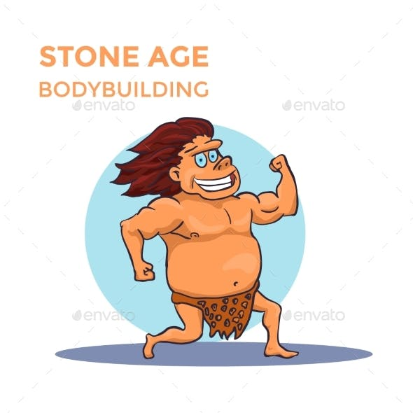Hand Drawn Cartoon Stone Age Cave Man