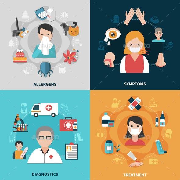 Allergy 2x2 Icons Set