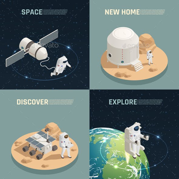Space Exploration 4 Isometric Icons