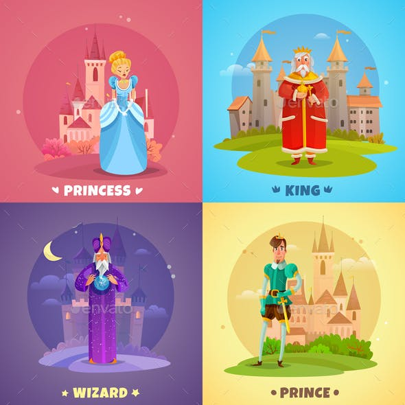 Fairytale Characters 2x2 Design Concept