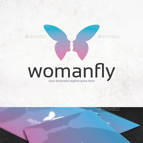 Woman Butterfly Logo Template