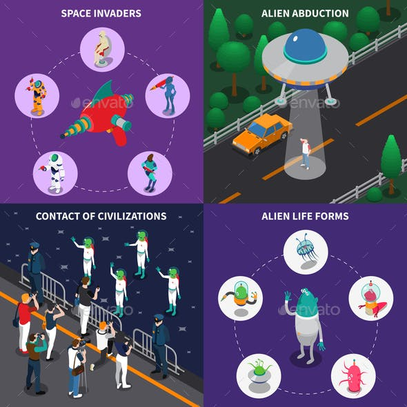 Alien Characters 2x2 Isometric Set