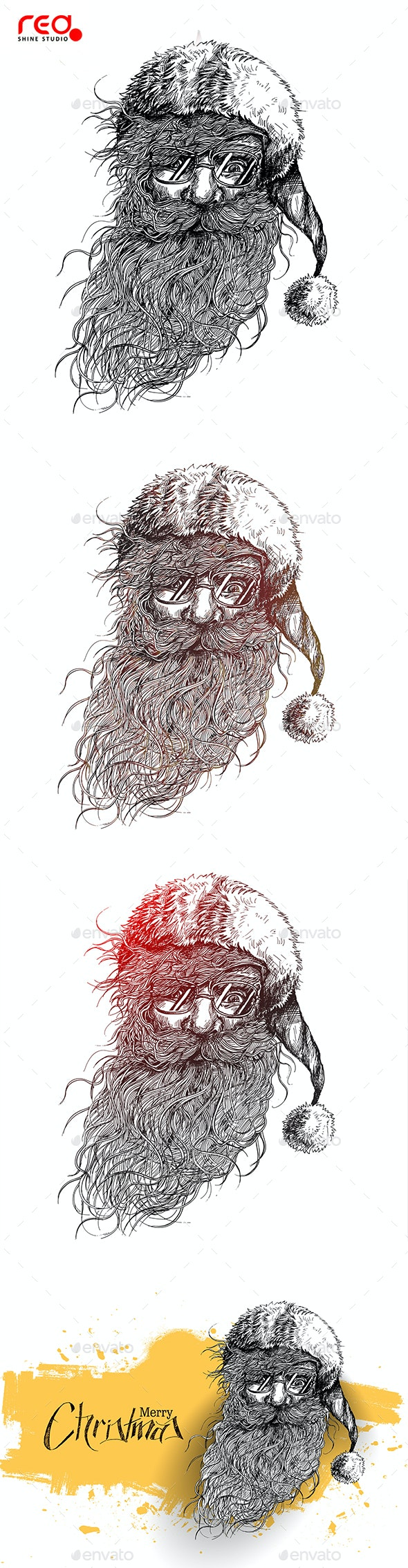 Santa Claus Face Sketch - Christmas Seasons/Holidays