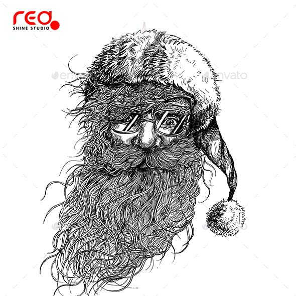 Santa Claus Face Sketch