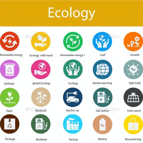 Ecology Flat glyph icons