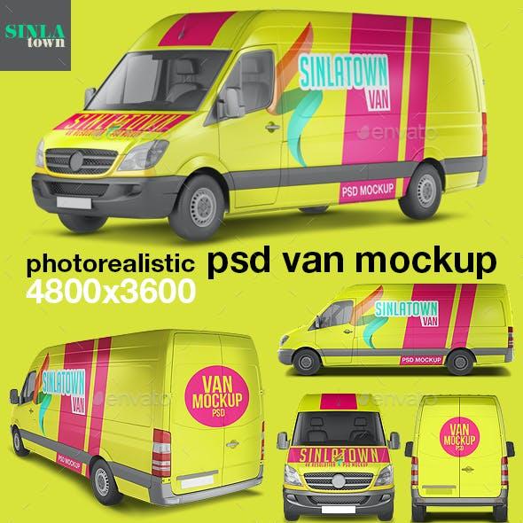 Photorealistic PSD Van Mockup