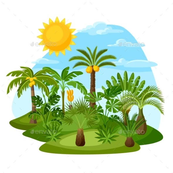 Card with Tropical Palm Trees.