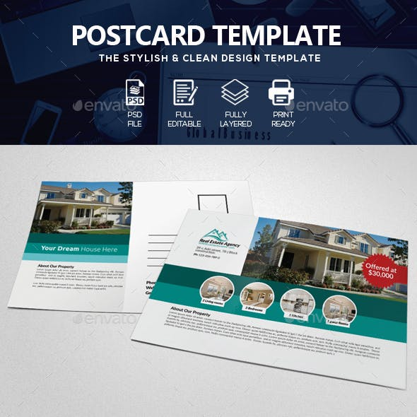 Real Estate Agency Post Card
