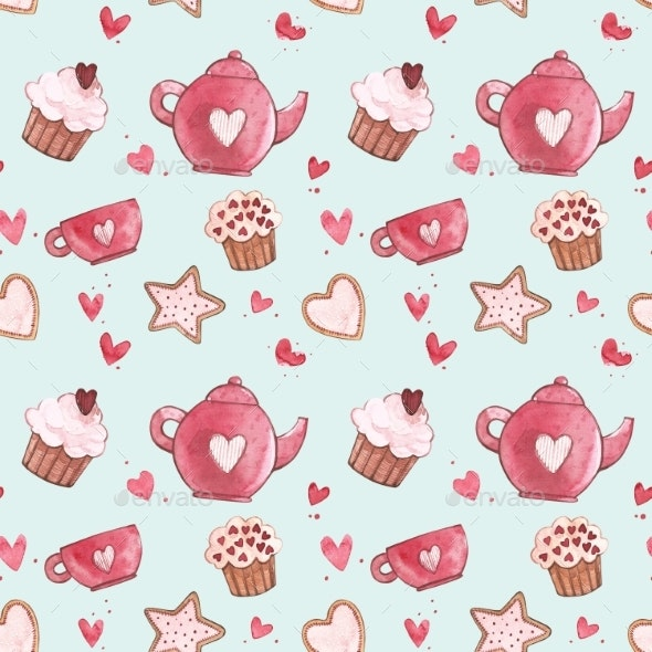 Seamless Patterns with Cup and Teapot. Pink