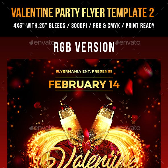 Valentine Party Flyer Template 2