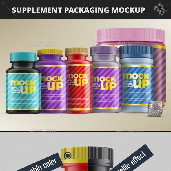 6 Supplement Bottle Jar Packaging Mockups