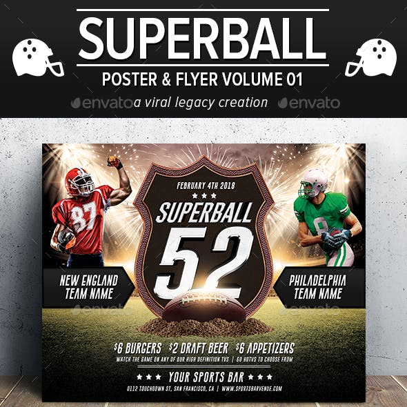 Superball Football Poster / Flyer V01