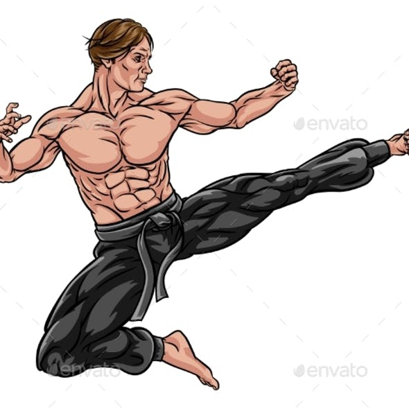 Karate Kung Fu Flying Kick Man Cartoon
