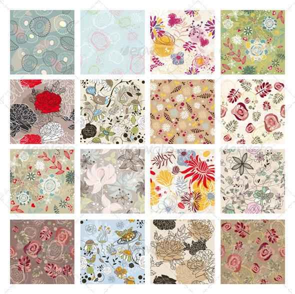 Seamless Floral Backgrounds - Patterns Decorative