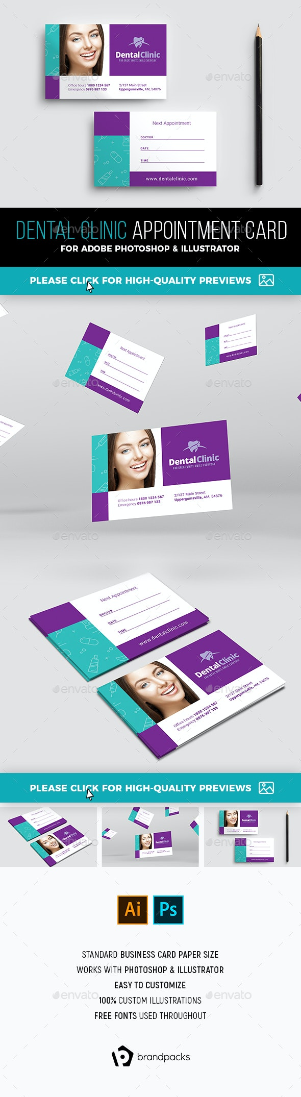 Dental Clinic Appointment Card Template - Industry Specific Business Cards
