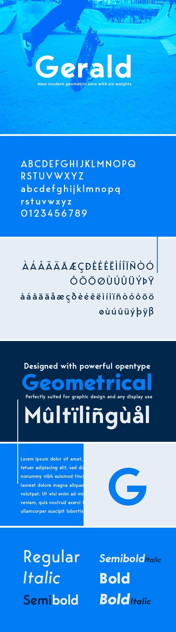 Gerald Sans Font - Geometric Modern Typeface - Sans-Serif Fonts