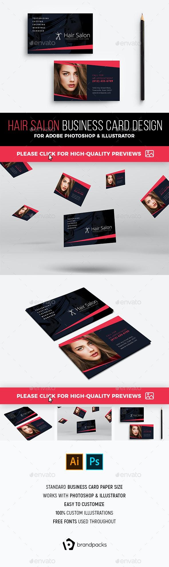 Hair Salon Business Card Template - Industry Specific Business Cards