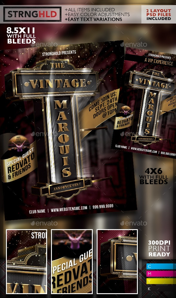 Vintage Theater Marquis Sign Flyer Template - Clubs & Parties Events