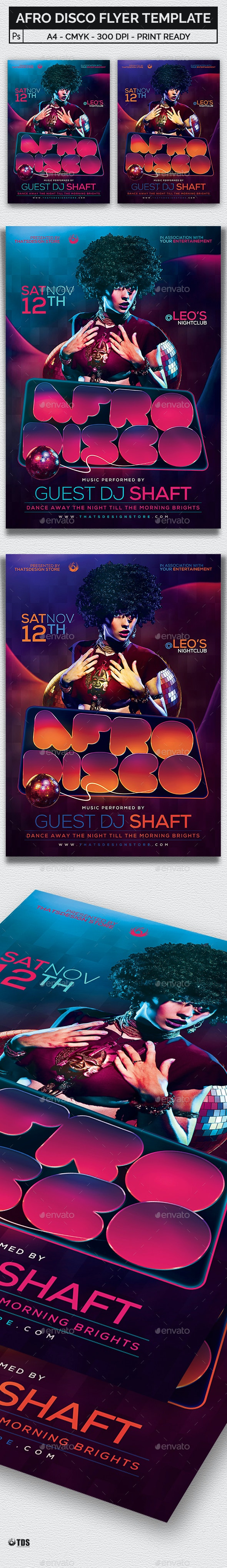 Afro Disco Flyer Template - Clubs & Parties Events