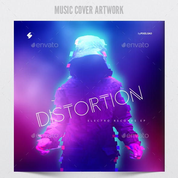 Distortion - Music Album Cover Artwork Template
