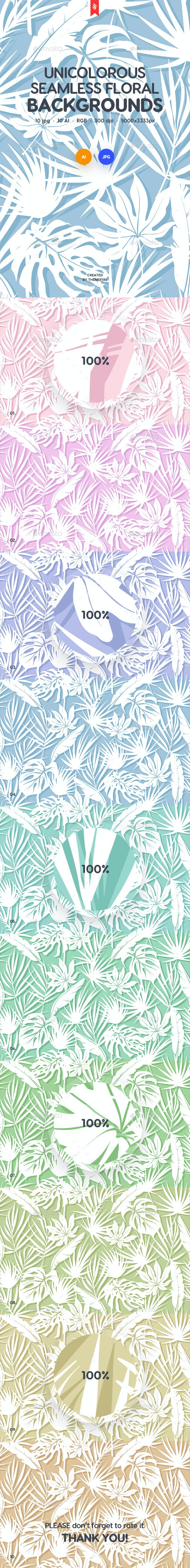 Unicolorous Seamless Floral Patterns Backgrounds By Themefire