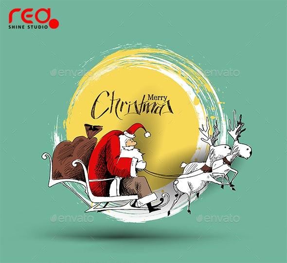 Christmas Santa Claus Flying Sleigh - Christmas Seasons/Holidays