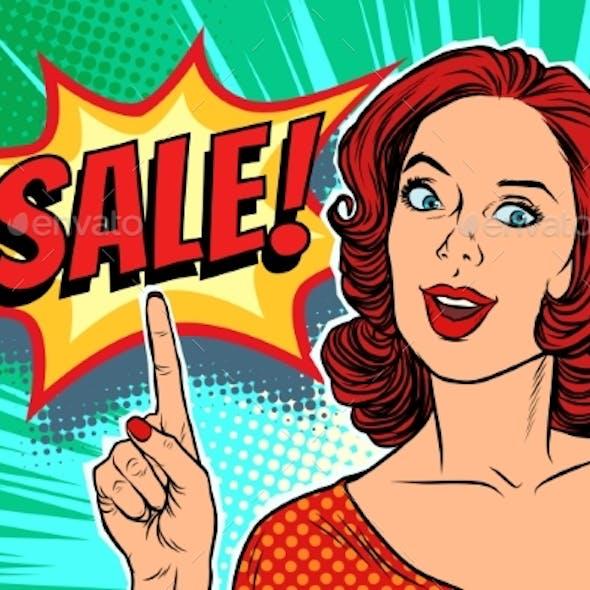 Sale Text Pop Art Woman