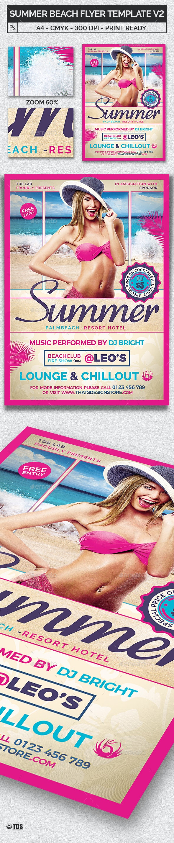 Summer Beach Flyer Template V2 - Clubs & Parties Events