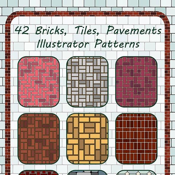 42 Bricks, Tiles, Pavements Seamless Adobe Illustrator Patterns