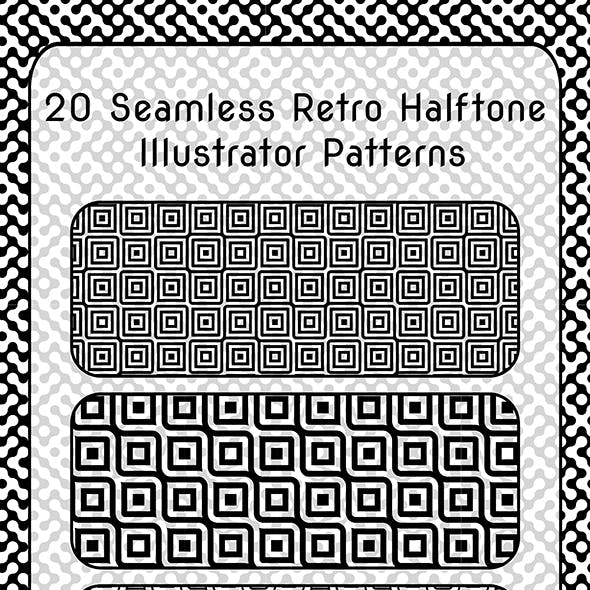 20 Vintage Halftone Repeating Grunge Adobe Illustrator Patterns